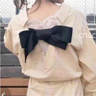 バックリボン袖段々シャツワンピース