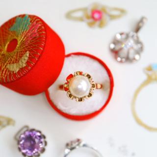 希少❁⃘*k18⋆手毬の様な菊爪のあこや真珠の指輪⋆エテ アガット お好きな方