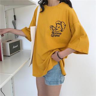 0722 オーバーサイズビッグシルエット Tシャツ  ボーイイラスト(Tシャツ/カットソー(半袖/袖なし))