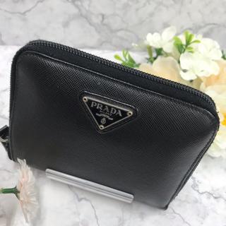 PRADA - 正規品/PRADA ラウンドファスナー二つ折り財布 黒 レザー