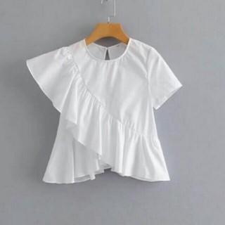 ZARA - 袖裾フリルカットソー Tシャツ