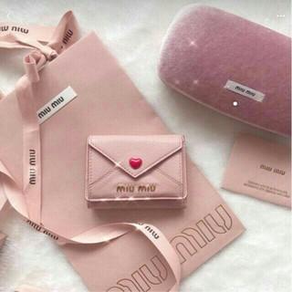 miumiu - miumiu ミュウミュウ 三つ折り財布 ラブレター ブラック