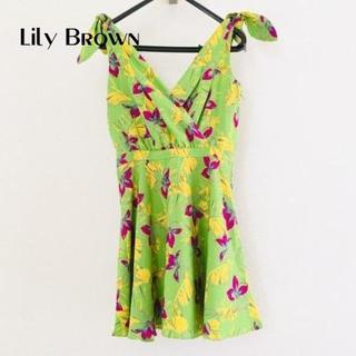リリーブラウン(Lily Brown)のリリーブラウン ワンピース サイズ0 XS レディース美品 花柄(ひざ丈ワンピース)