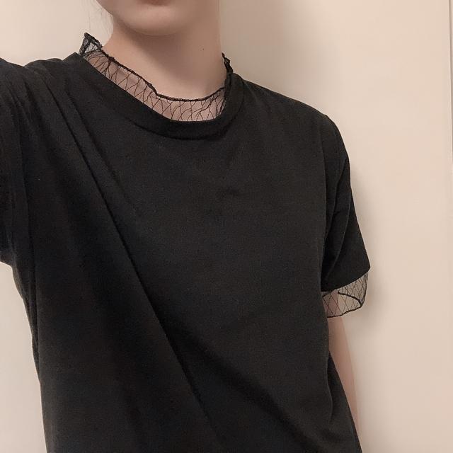 SPINNS(スピンズ)の黒 Tシャツ レディースのトップス(Tシャツ(半袖/袖なし))の商品写真