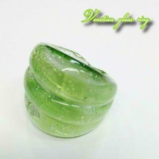 VR73 グリーン系 ベネチアン ガラス リング ベネチアリング 指輪(リング(指輪))
