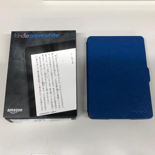 アップル(Apple)のkindle paperwhite 第7世代 広告なしwifi カバー付 美品(電子ブックリーダー)