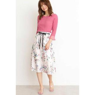 PROPORTION BODY DRESSING - ファジーフラワープリントギャザースカート