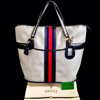 グッチ(Gucci)のほぼ 未使用 グッチ オールドグッチ ネイビー シェリーライン ハンドバッグ(トートバッグ)