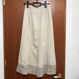 刺繍 チュール ロングスカート 淡ベージュ色(ロングスカート)
