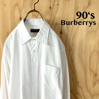 BURBERRY - 90's Burberrys バーバーリー ドレスシャツ 同色刺繍ロゴ