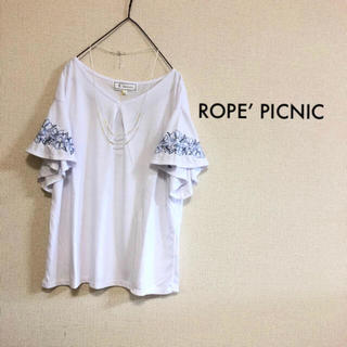 Rope' Picnic - Mサイズ ロペピクニック ⭐️新品⭐️ 袖刺繍フレアカットソー ホワイト