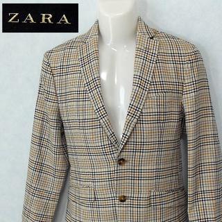 ZARA - 【ZARA】 美品 ザラ 2Bチェックジャケット ライトブラウン サイズ48