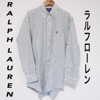 ラルフローレン(Ralph Lauren)の【RALPH LAUREN】シャツ ストライプ グリーン L 古着 長袖(シャツ)