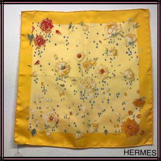 エルメス(Hermes)のHERMES エルメス シルクミニスカーフ バラ&雫柄 2002刻印 シルク(バンダナ/スカーフ)
