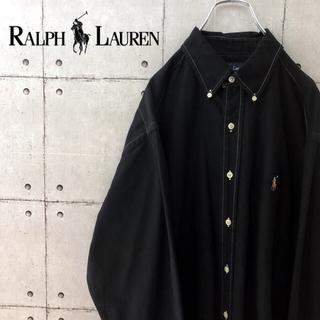 Ralph Lauren - 【希少】90's ラルフローレン 無地 ブラックBDシャツ カラーポニー