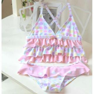 《110》【新品】♡女の子 水着  セパレート フリル 水玉 海 プール セット