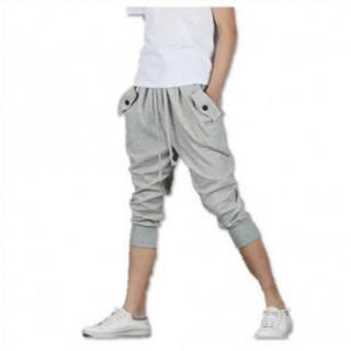 メンズ スウェット パンツ 7分丈 ボタン付き ハーフパンツ【グレーXL】(サルエルパンツ)