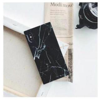 iphoneケース 黒 大理石柄 マーブル スクエア 耐衝撃 光沢 キズ防止