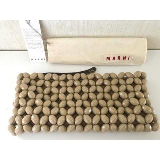 マルニ(Marni)のMARNI ビジュー レザー クラッチ ポーチ ベージュ ブラウン(クラッチバッグ)