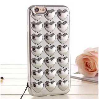 スマホケース iPhone7 カバー シルバー ハート ミラー メタリック 保護