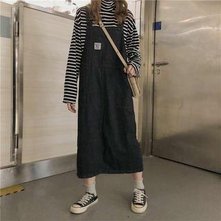 大人気⭐️インポート ジャンパースカート デニムキャミワンピース ブラック(ロングスカート)