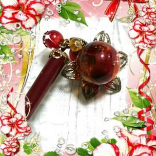 透かし柄花形台座+琥珀色ガラス玉かんざし、ハンドメイド(浴衣)