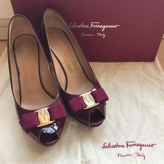 Salvatore Ferragamo - フェラガモ✨オープントゥパンプス 6 1/2 Dサイズ