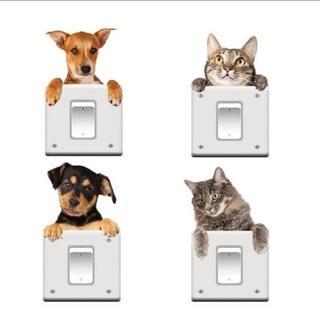 コンセント スイッチ に ペタペタ 可愛い 犬 猫 シール