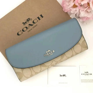 コーチ(COACH)の2019年最新モデル【新品】COACH☆長財布 ブルー シグネチャー(財布)