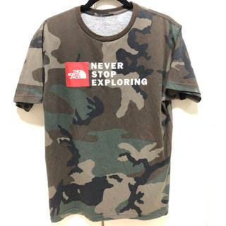 THE NORTH FACE - ノースフェイス 迷彩カモフラ 赤ボックススクエアロゴ 希少店舗限定Tシャツ XL