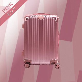 スーツケース D PVC加工 旅行 出張 デザイン性抜群 Mサイズ ピンク(スーツケース/キャリーバッグ)