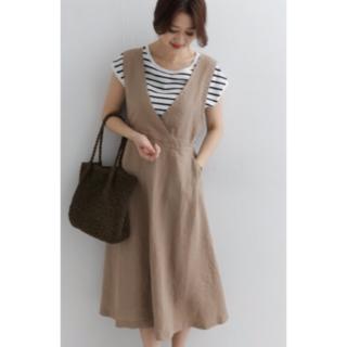 リネンフレアジャンパースカート DOORS 19SS 新品 ベージュ