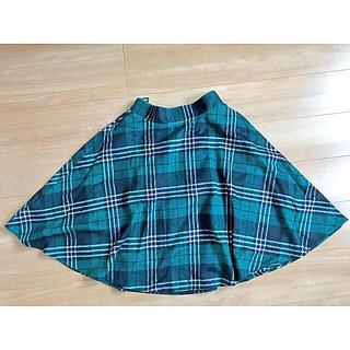 グリーン チェックスカート(ひざ丈スカート)
