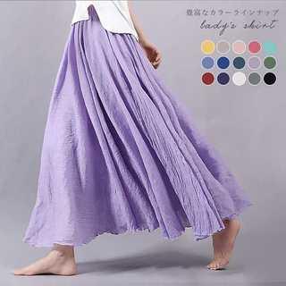 【大人気】 ★15カラー リネンフレアロングスカート★