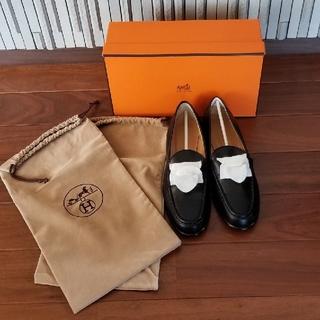 エルメス(Hermes)のHERMESコンスタンス黒シルバーHローファー(ローファー/革靴)