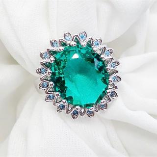 S925 大粒CZダイヤモンド エメラルドグリーン レディース シルバーリング(リング(指輪))