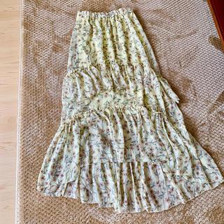 H&M - H&M 花柄ドレープ段フリルアシンメトリーロングスカート