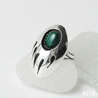 シルバー インディアンジュエリー ベアパウ マラカイト 12号 ピンキー リング(リング(指輪))