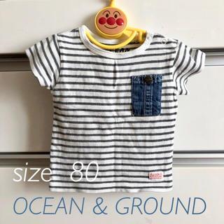 OCEAN & GROUND トップス 80 Tシャツ ボーダー