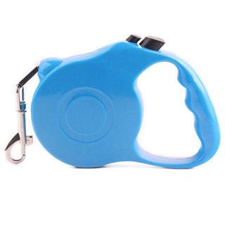 ペット 伸縮 リード ブルー 水色 犬 ボタン 新品未使用 5メートル 送料無料(リード/首輪)