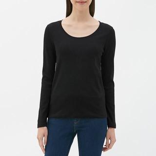 GU - クルーネックTシャツ (長袖) GU ジーユー 黒 ブラック