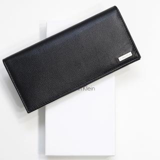 カルバンクライン(Calvin Klein)の新品 カルバンクライン 財布 二つ折り 長財布 メンズ レザー 大容量 ブラック(長財布)