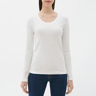 GU - クルーネックTシャツ (長袖) GU ジーユー 白 ホワイト