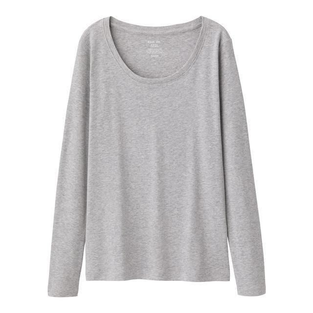 GU(ジーユー)のクルーネックTシャツ (長袖) GU ジーユー グレー レディースのトップス(Tシャツ(長袖/七分))の商品写真