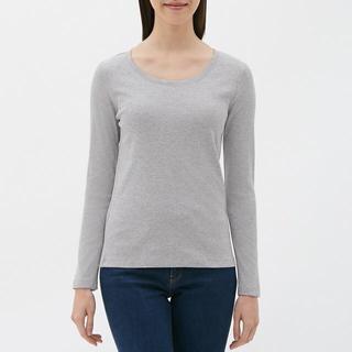 ジーユー(GU)のクルーネックTシャツ (長袖) GU ジーユー グレー(Tシャツ(長袖/七分))