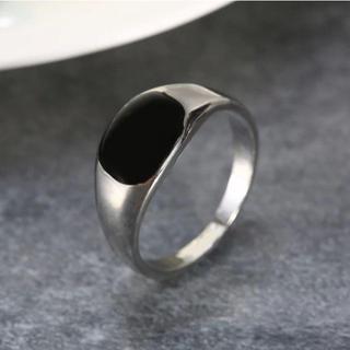 ブラックスクエアリング 10mm幅 シルバー 単品(リング(指輪))