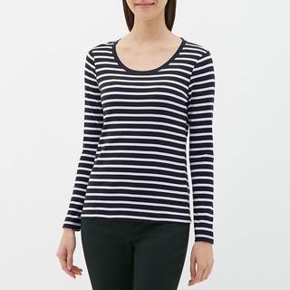 ジーユー(GU)のボーダークルーネックTシャツ (長袖) GU ジーユー 紺 ネイビー(Tシャツ(長袖/七分))