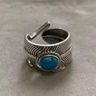 シルバー925 天然石ターコイズ フェザーリング  シルバー 銀縄(リング(指輪))