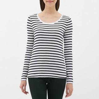 ジーユー(GU)のボーダークルーネックTシャツ (長袖) GU ジーユー 白 ホワイト(Tシャツ(長袖/七分))