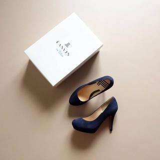 LANVIN en Bleu - 試着のみ■ランバンオンブルー■ 22 濃紺スエード パンプス